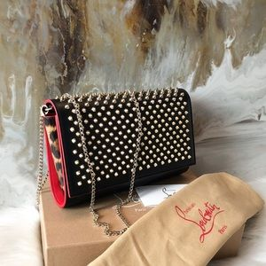 Christian Louboutin Black Spiked Paloma Clutch
